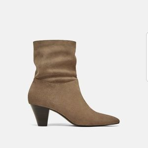Zara Leather Heel Ankle Boots